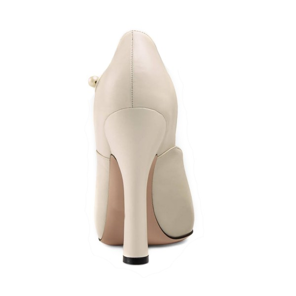 Ivory Vintage Heels Closed Toe Retro Chunky Heel Pumps image 2