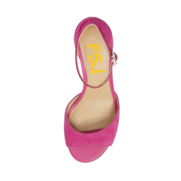 Pink Soft Suede Chunky Heels Peep Toe Ankle Strap Sandals image 3
