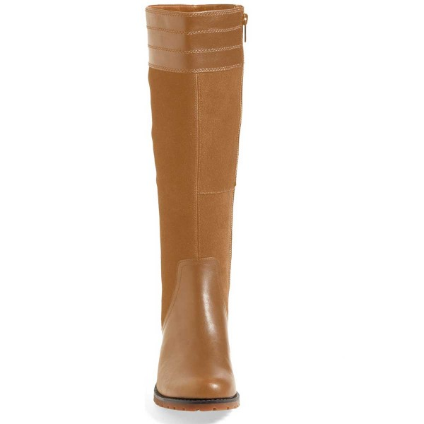 Tan Riding Boots Side Zipper Round Toe Low Heel Knee Boots image 3