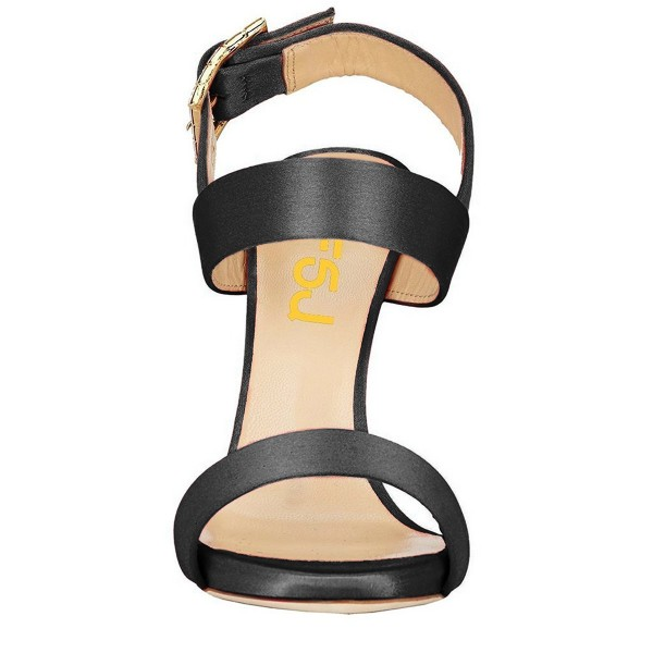 Black Satin Office Sandals Slingback Heels Sandals for Work image 4