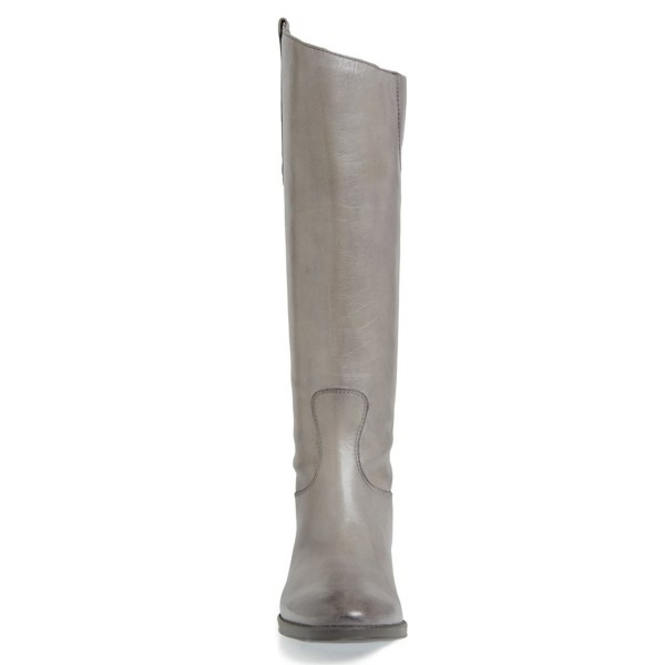 Grey Riding Boots Back Zipper Low Heel Fashion Knee Boots US Size 3-15 image 3
