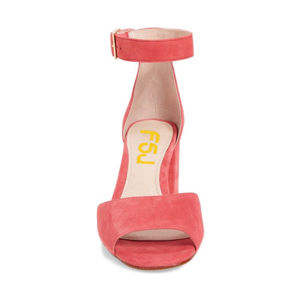 Pink Block Heel Sandals Ankle Strap Suede Sandals image 3