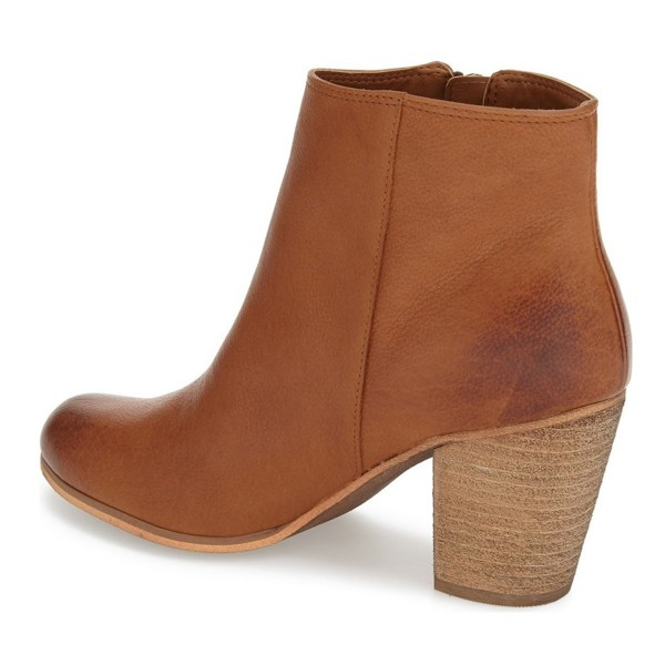 Chunky Heel Vintage Tan Boots Round Toe Patent Leather Ankle Boots image 3