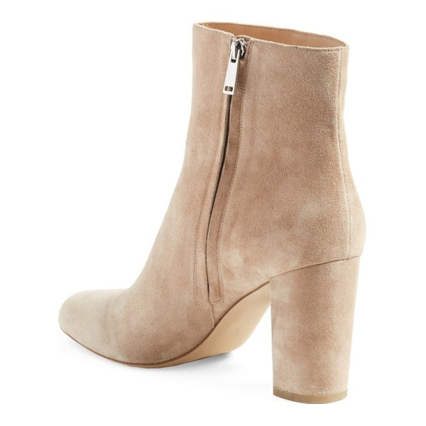 Beige Fringe Boots Chunky Heel Suede Shoes with Silver Studs image 3