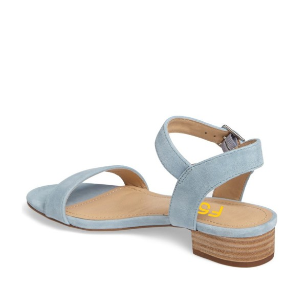 Light Blue Summer Sandals Suede Comfortable Flats for Girls image 2