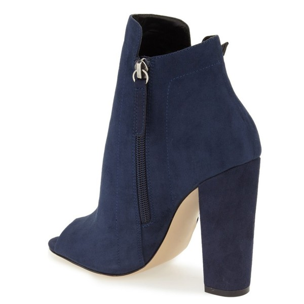 Women's Navy Peep Toe Suede Lace Up Short Chunky Heel Boots image 3