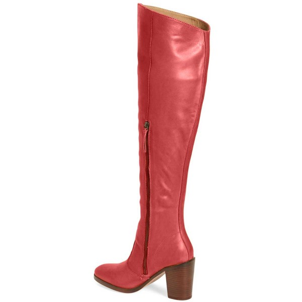 Red Knee Boots Round Toe Fashion Chunky Heel Boots by FSJ image 3