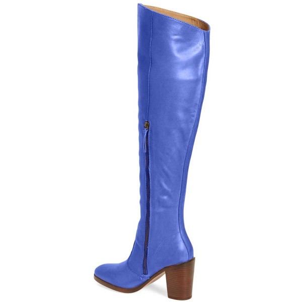 Blue Knee Boots Round Toe Fashion Chunky Heel Boots by FSJ image 3
