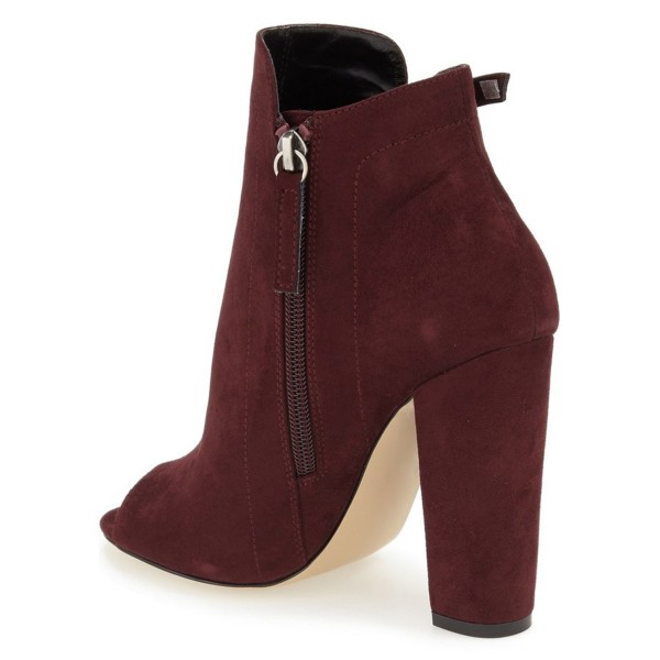Women's Burgundy Suede Chunky Heel Boots Peep Toe Lace Up Ankle Booties image 3