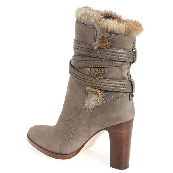 Light Brown Fur Boots Strappy Chunky Heels for Winter image 2