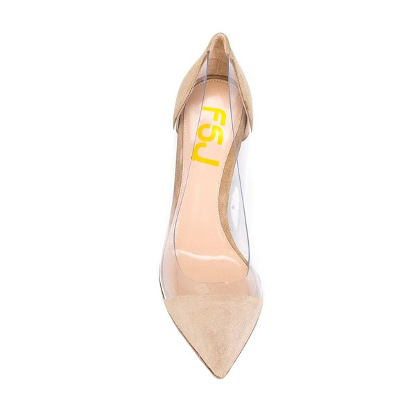 Clear Heels Beige Suede Pointy Toe Stiletto Heels Pumps image 3