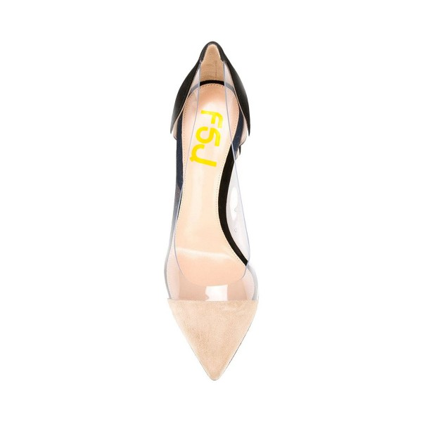 Women's Nude and Black Pointed Toe Stiletto Heels Clear Pumps Shoes image 3
