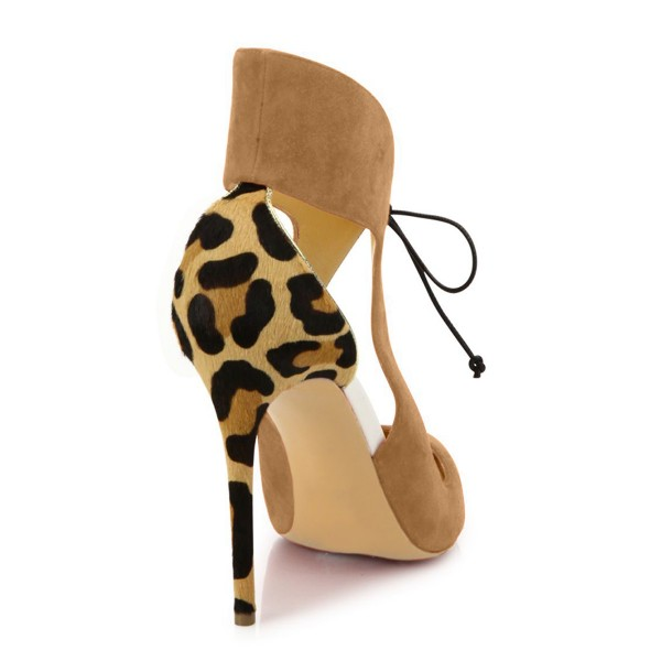 Khaki Suede Lace-up Leopard-print Stiletto Heel Pumps image 6
