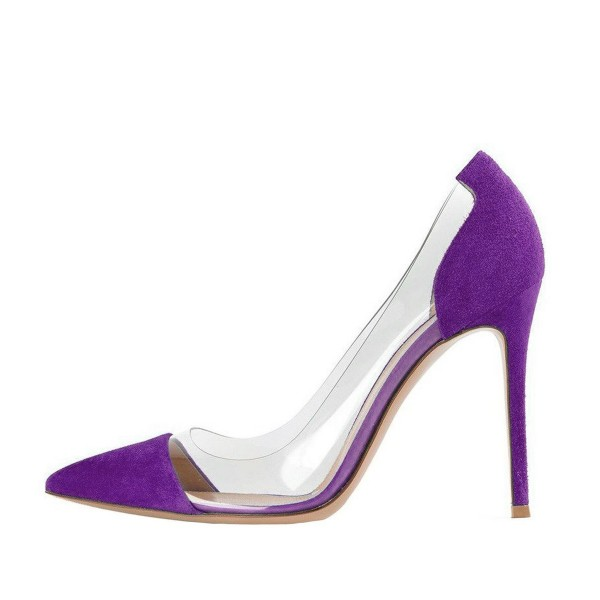 Purple Clear Heels Pointy Toe Stiletto Heels Suede Pumps image 3