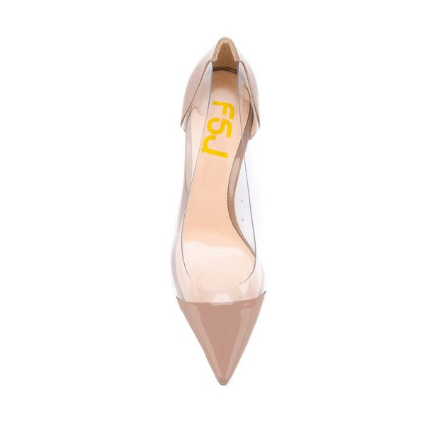 Women's Light Brown Clear Heels Pointy Toe Stiletto Heels Pumps image 2