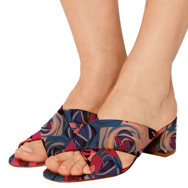 Women's Navy Floral Crossed Strap Chunky Heels Slippers Sandals image 1
