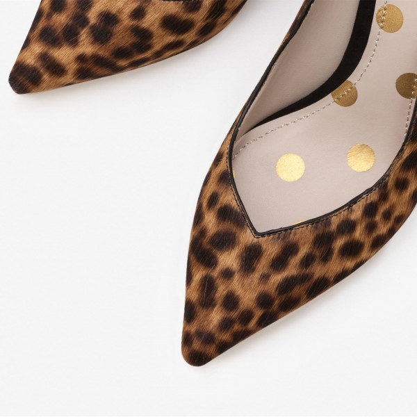 3 inch Heels Leopard Print Heels Horsehair Stiletto Heels Office Shoes image 3
