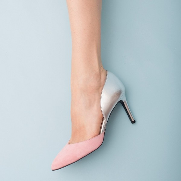 9760e8c5092 3 inch Heels Pink and Silver Stiletto Heels Pointy Toe Pumps