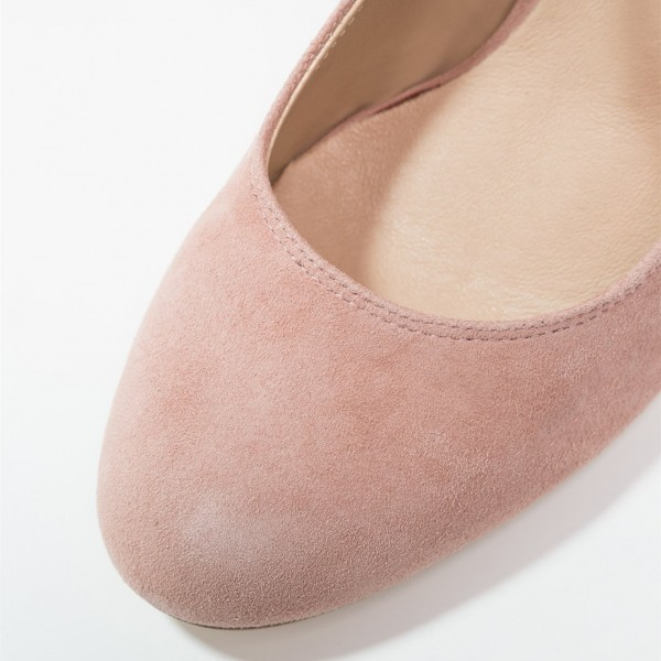 3 inch Heels Pink Mary Jane Shoes Round Toe Pumps image 3