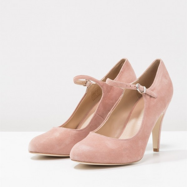 3 inch Heels Pink Mary Jane Shoes Round Toe Pumps image 1
