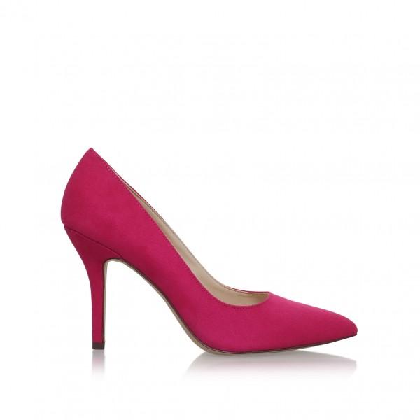 3 inch Heels Magenta Pointy Toe Stiletto Heels Suede Shoes for Women image 2