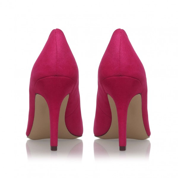 3 inch Heels Magenta Pointy Toe Stiletto Heels Suede Shoes for Women image 3