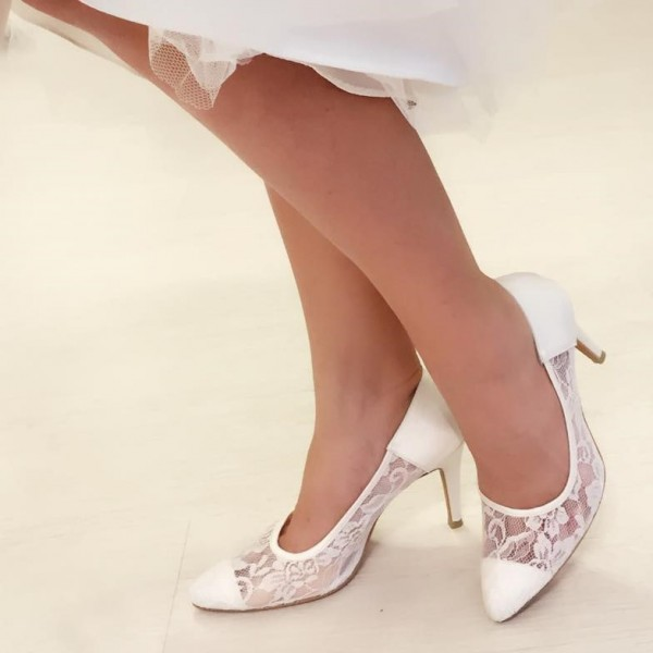 3 inch Heels White Lace Wedding Shoes