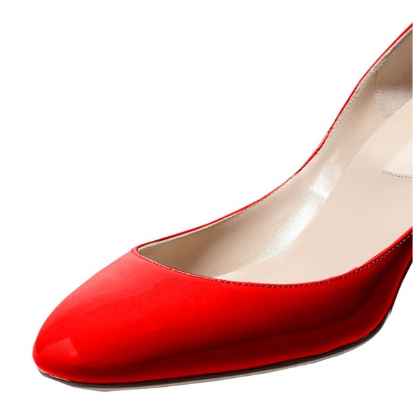 Red Round Toe Chunky Heels Ankle Strap Pumps for Ladies image 3
