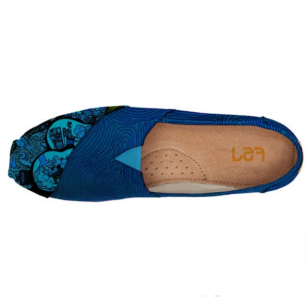 Women's Blue Cartoon Printed Slip-On Comfortable Flats image 4