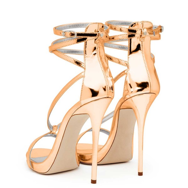 Women's Gold Strappy Stiletto Heels Open Toe Patent Leather Ankle Strap Sandals image 2
