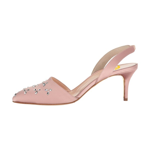 Pink Almond Toe Rhinestone Stiletto Heel Slingback Wedding Pumps image 3