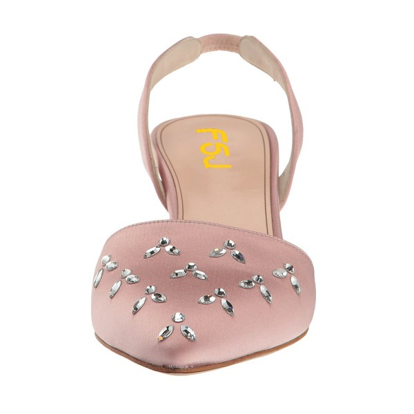 Pink Almond Toe Rhinestone Stiletto Heel Slingback Wedding Pumps image 4
