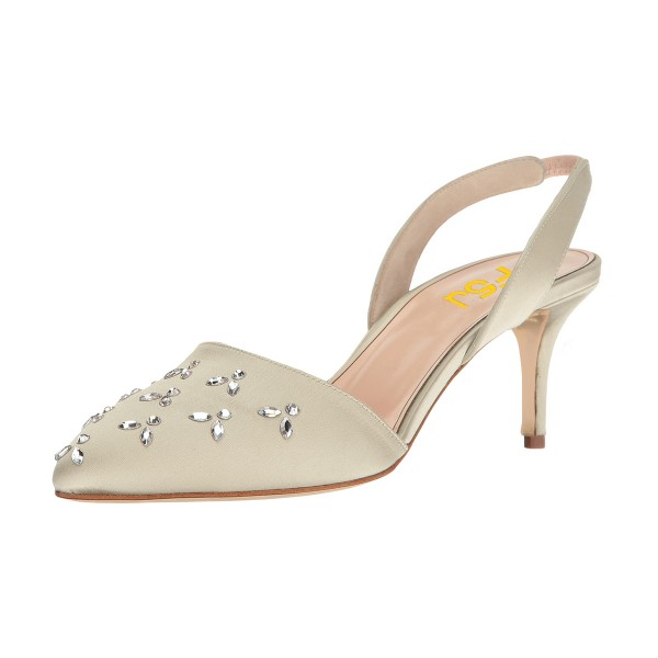 Women's Beige Pointy Toe Rhinestone Stiletto Heel Slingback Pumps image 1
