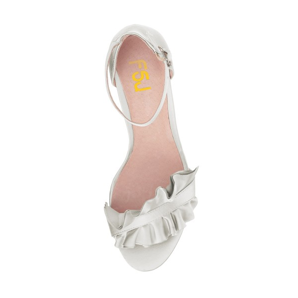 White Ruffle Ankle Strap Sandals Wedding Shoes image 2