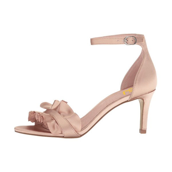 Women's Blush Ruffle Stiletto Heel Ankle Strap Sandals image 4