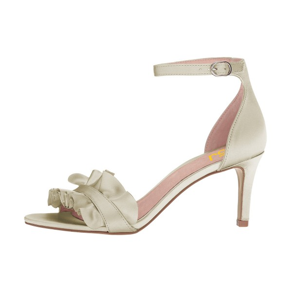 Women's Champagne Ruffle Stiletto Heel Ankle Strap Sandals image 2