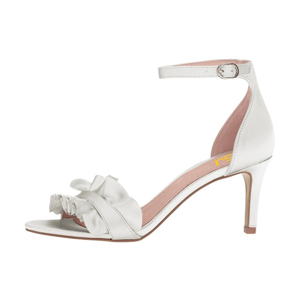 White Ruffle Ankle Strap Sandals Wedding Shoes image 3