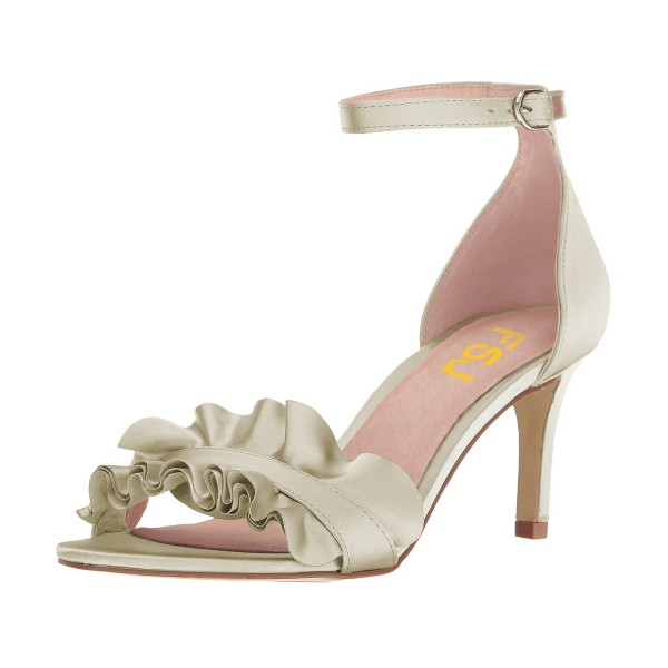 Women's Champagne Ruffle Stiletto Heel Ankle Strap Sandals image 1