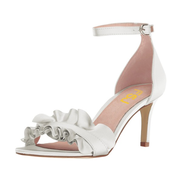 White Ruffle Ankle Strap Sandals Wedding Shoes image 1