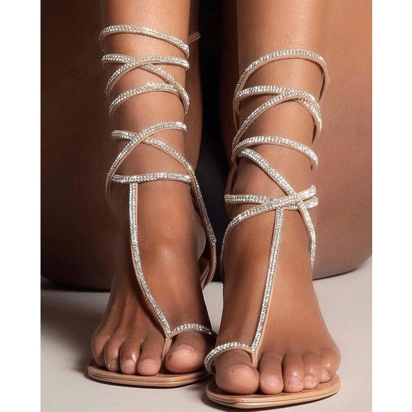 nice cheap best choice shop best sellers Nude Rhinestone Strappy Flat Sandals for Going out, Hanging out ...