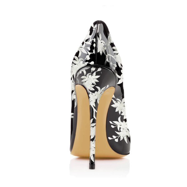 Women's Black Floral Heels Pencil Heel Pumps image 4