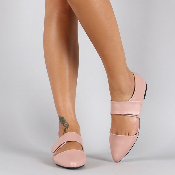 Pink Mary Jane Shoes Pointy Toe Flats Comfortable Shoes image 1