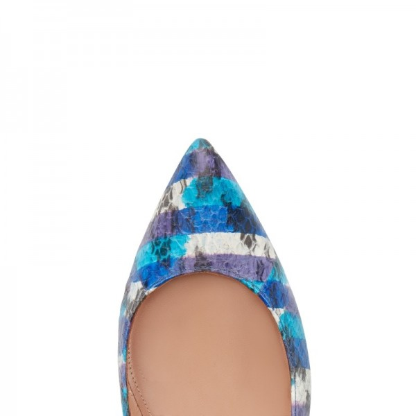 Blue Pointy Toe Flats Hollow out Python Tassels Heels image 3