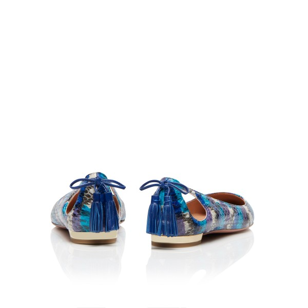 Blue Pointy Toe Flats Hollow out Python Tassels Heels image 4