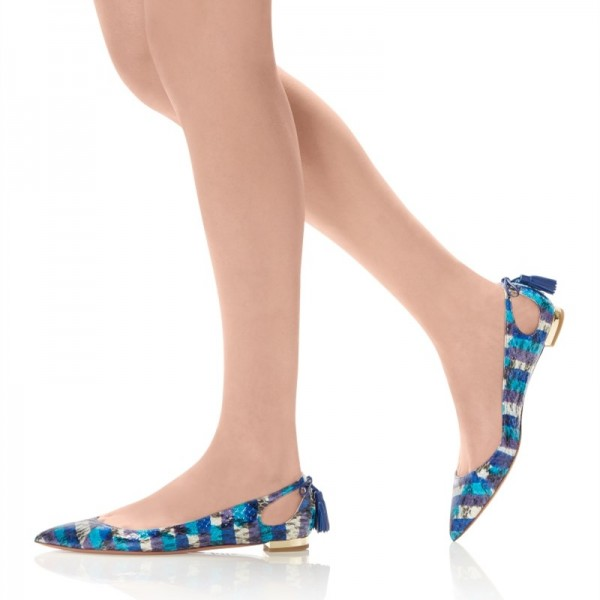 Blue Pointy Toe Flats Hollow out Python Tassels Heels image 2
