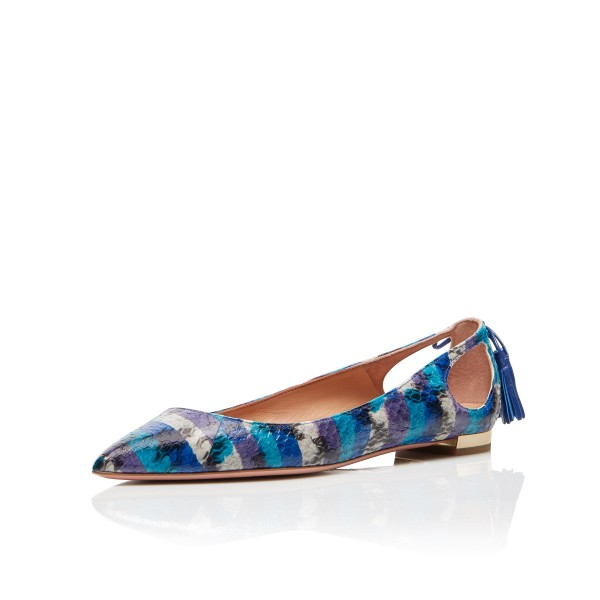 Blue Pointy Toe Flats Hollow out Python Tassels Heels image 1