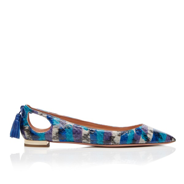 Blue Pointy Toe Flats Hollow out Python Tassels Heels image 5