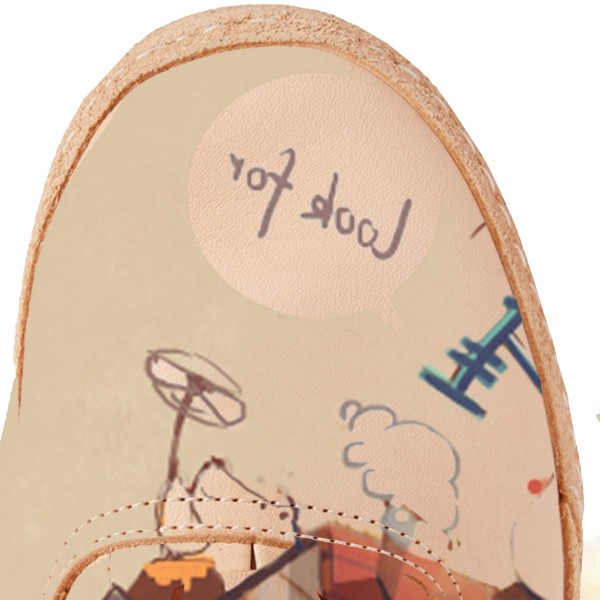 Women's Brown Cartoon Printed Slippers Lace Up Comfortable Flats image 2