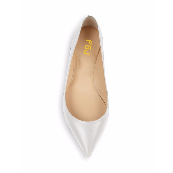 Women's Grey White Pointed Toe Pumps Comfortable Flats  image 4