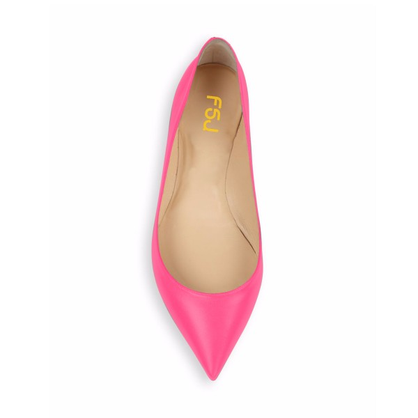 Hot Pink Comfortable Flats Pointy Toe Shoes for Girls image 4